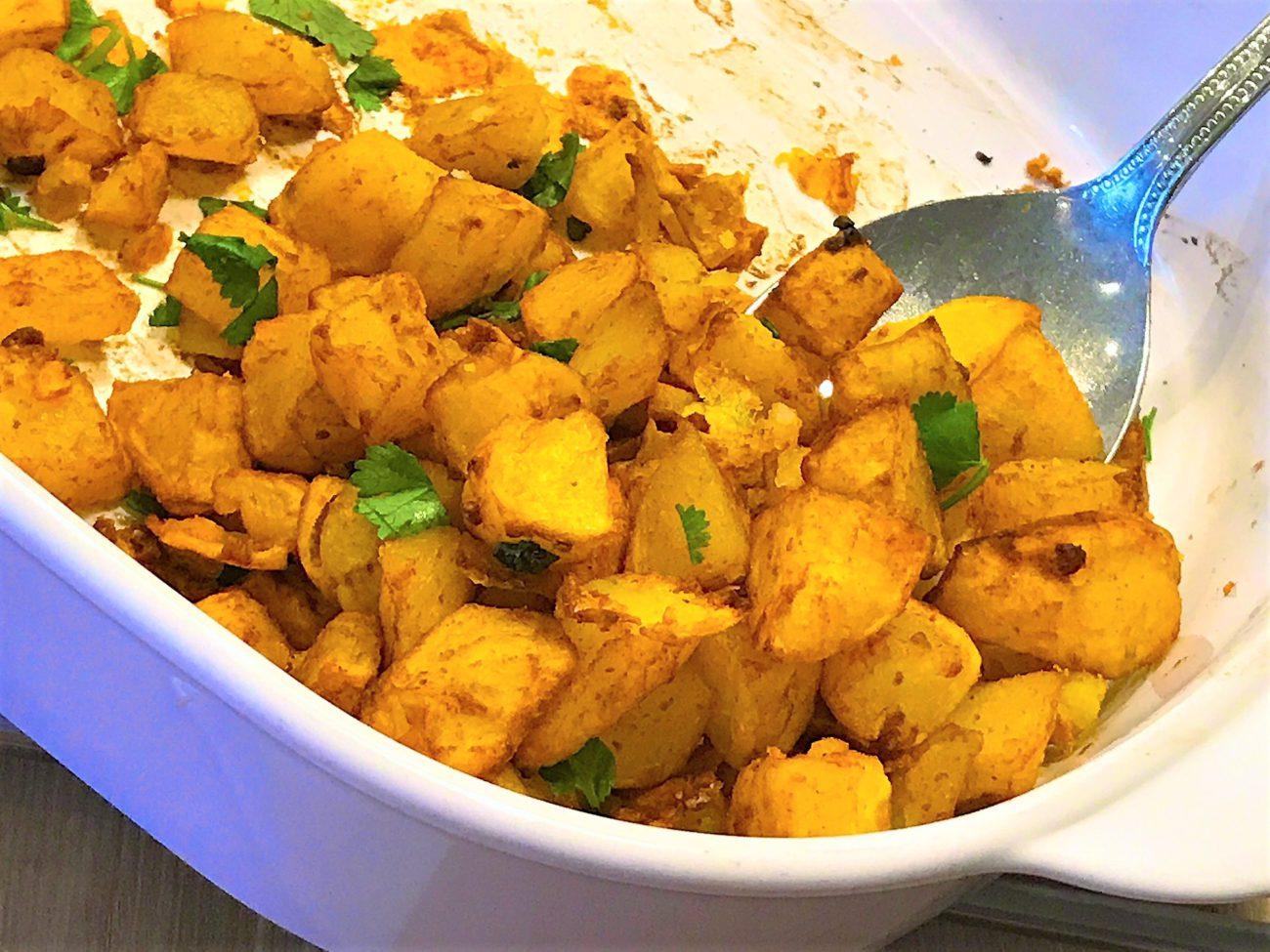 Pittige aardappelblokjes