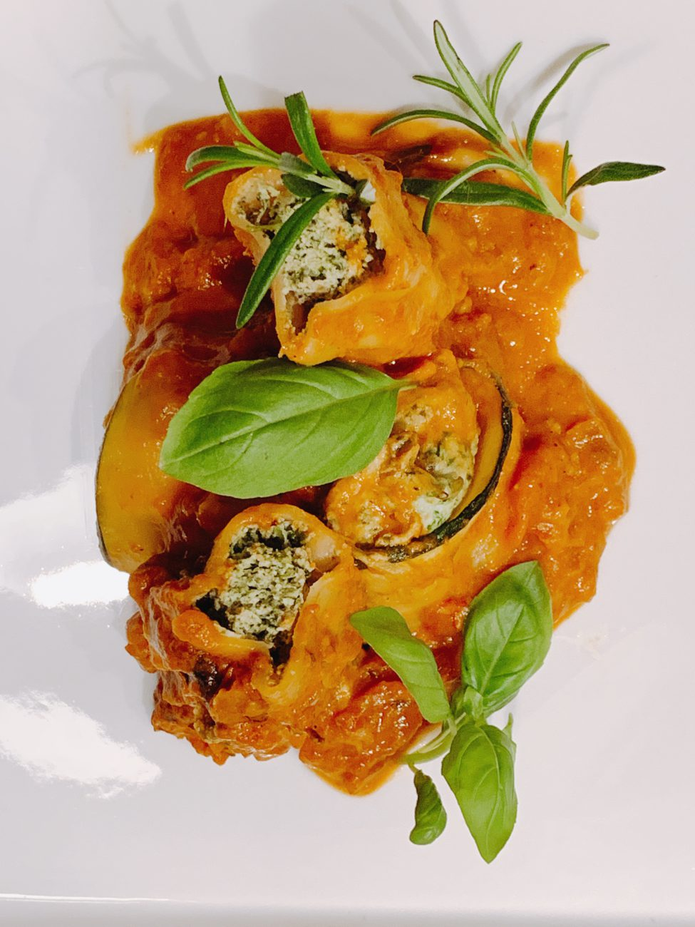 Canneloni met zalm en spinazie